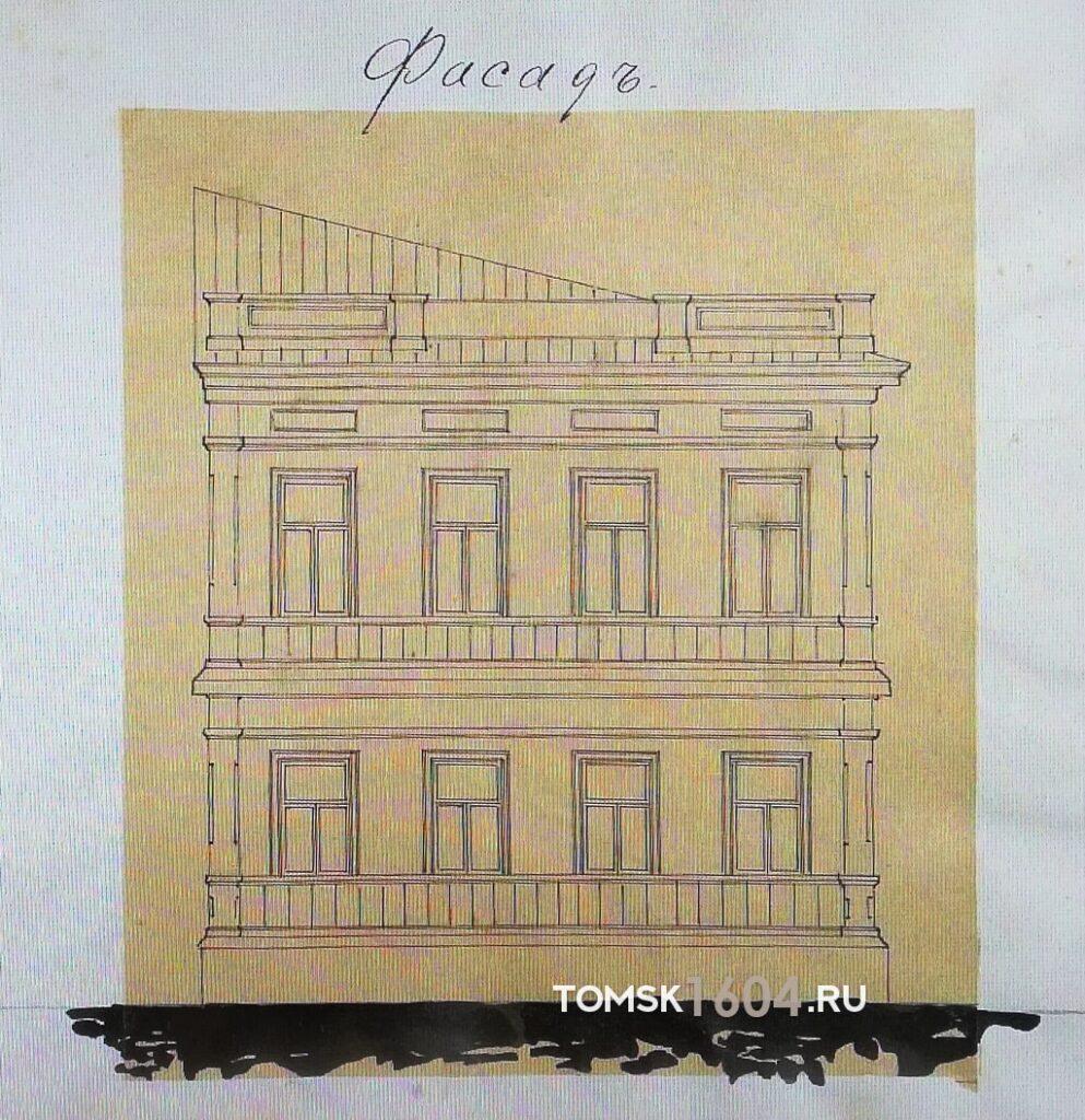 ул. Пушкина 38. Проект фасада здания. 1893г. Источник: ГАТО.